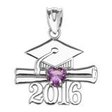 Sterling Silver Heart February Birthstone Purple Cz Class of 2016 Graduation Pendant Necklace