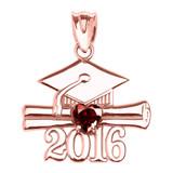 Rose Gold Heart January Birthstone Garnet Cz Class of 2016 Graduation Pendant Necklace
