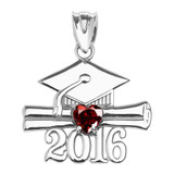 White Gold Heart January Birthstone Garnet Cz Class of 2016 Graduation Pendant Necklace