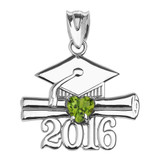 Sterling Silver Heart August Birthstone Light Green Cz Class of 2016 Graduation Pendant Necklace