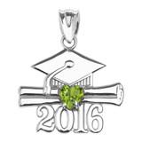 White Gold Heart August Birthstone Light Green Cz Class of 2016 Graduation Pendant Necklace
