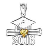 White Gold Heart November Birthstone Yellow Cz Class of 2016 Graduation Pendant Necklace