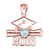 Rose Gold Heart March Birthstone Aqua Cz Class of 2016 Graduation Pendant Necklace