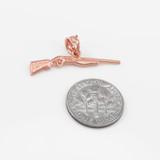 Dainty Rose Gold Shotgun Charm Pendant Necklace