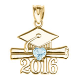 Yellow Gold Heart March Birthstone Aqua Cz Class of 2016 Graduation Pendant Necklace