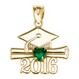 Yellow Gold Heart May Birthstone Green Cz Class of 2016 Graduation Pendant Necklace