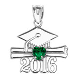 White Gold Heart May Birthstone Green Cz Class of 2016 Graduation Pendant Necklace