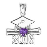 White Gold Heart June Birthstone Light Purple Cz Class of 2016 Graduation Pendant Necklace