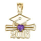 Yellow Gold Heart June Birthstone Light Purple Cz Class of 2016 Graduation Pendant Necklace