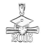 White Gold Heart April Birthstone White CZ Class of 2016 Graduation Pendant Necklace
