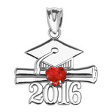 White Gold Heart July Birthstone Red CZ Class of 2016 Graduation Pendant Necklace
