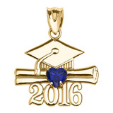 Yellow Gold Heart September Birthstone Blue CZ Class of 2016 Graduation Pendant Necklace