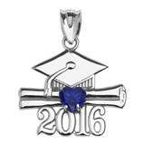 Sterling Silver Heart September Birthstone Blue Cz Class of 2016 Graduation Pendant Necklace