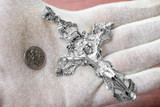 Solid Silver Extra Large Cross INRI Crucifix Pendant
