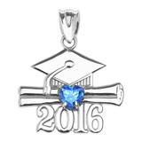 Sterling Silver Heart December Birthstone Light Blue Cz Class of 2016 Graduation Pendant Necklace