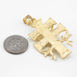 Gold Caravaca Double Cross with Angels Crucifix Pendant