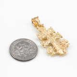 Gold Caravaca Crucifix Cross Charm Pendant Necklace