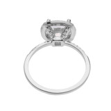 Cushion Shape Cubic Zirconia Center & Diamond Halo Micropave Engagement Ring in White Gold