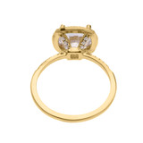 Cushion Shape Cubic Zirconia Halo Micropave Engagement Ring in Yellow Gold
