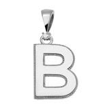 "White Gold High Polish Milgrain Solitaire Diamond ""B"" Initial Pendant Necklace"