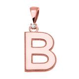 "Rose Gold High Polish Milgrain Solitaire Diamond ""B"" Initial Pendant Necklace"