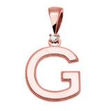"Rose Gold High Polish Milgrain Solitaire Diamond ""G"" Initial Pendant Necklace"