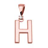 "Rose Gold High Polish Milgrain Solitaire Diamond ""H"" Initial Pendant Necklace"