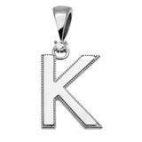 "White Gold High Polish Milgrain Solitaire Diamond ""K"" Initial Pendant Necklace"
