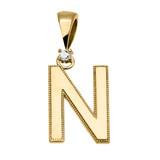 "Yellow Gold High Polish Milgrain Solitaire Diamond ""N"" Initial Pendant Necklace"