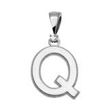 "White Gold High Polish Milgrain Solitaire Diamond ""Q"" Initial Pendant Necklace"