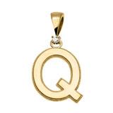 "Yellow Gold High Polish Milgrain Solitaire Diamond ""Q"" Initial Pendant Necklace"