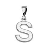 "White Gold High Polish Milgrain Solitaire Diamond ""S"" Initial Pendant Necklace"