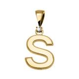"Yellow Gold High Polish Milgrain Solitaire Diamond ""S"" Initial Pendant Necklace"