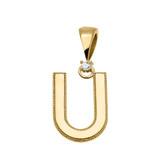 "Yellow Gold High Polish Milgrain Solitaire Diamond ""U"" Initial Pendant Necklace"