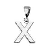 "White Gold High Polish Milgrain Solitaire Diamond ""X"" Initial Pendant Necklace"