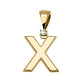 "Yellow Gold High Polish Milgrain Solitaire Diamond ""X"" Initial Pendant Necklace"