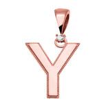"Rose Gold High Polish Milgrain Solitaire Diamond ""Y"" Initial Pendant Necklace"