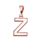 "Rose Gold High Polish Milgrain Solitaire Diamond ""Z"" Initial Pendant Necklace"