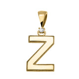"Yellow Gold High Polish Milgrain Solitaire Diamond ""Z"" Initial Pendant Necklace"
