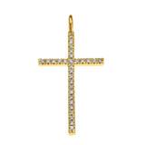 Yellow Gold Dainty Cubic Zirconia Cross Pendant Necklace