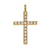Elegant Yellow Gold Diamond Cross Pendant Necklace