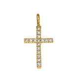 Yellow Gold Diamond Cross Charm Pendant Necklace