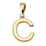 "Yellow Gold High Polish Milgrain Solitaire Diamond ""C"" Initial Pendant Necklace"