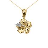 Yellow Gold Caribbean Hibiscus (Malvaceae) Dainty Diamond Pendant Necklace