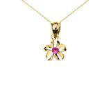 Delicate Yellow Gold Hawaiian Plumeria Pinkish Red CZ Charm Pendant Necklace