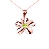 Rose Gold Hawaiian Plumeria Genuine Peridot Pendant Necklace