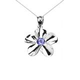 Sterling Silver Hawaiian Plumeria Tanzanite Pendant Necklace