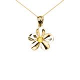 Yellow Gold Hawaiian Plumeria Citrine Dainty Pendant Necklace