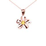 Rose Gold Hawaiian Plumeria Citrine Dainty Pendant Necklace