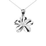 Sterling Silver Hawaiian Plumeria Cubic Zirconia Pendant Necklace